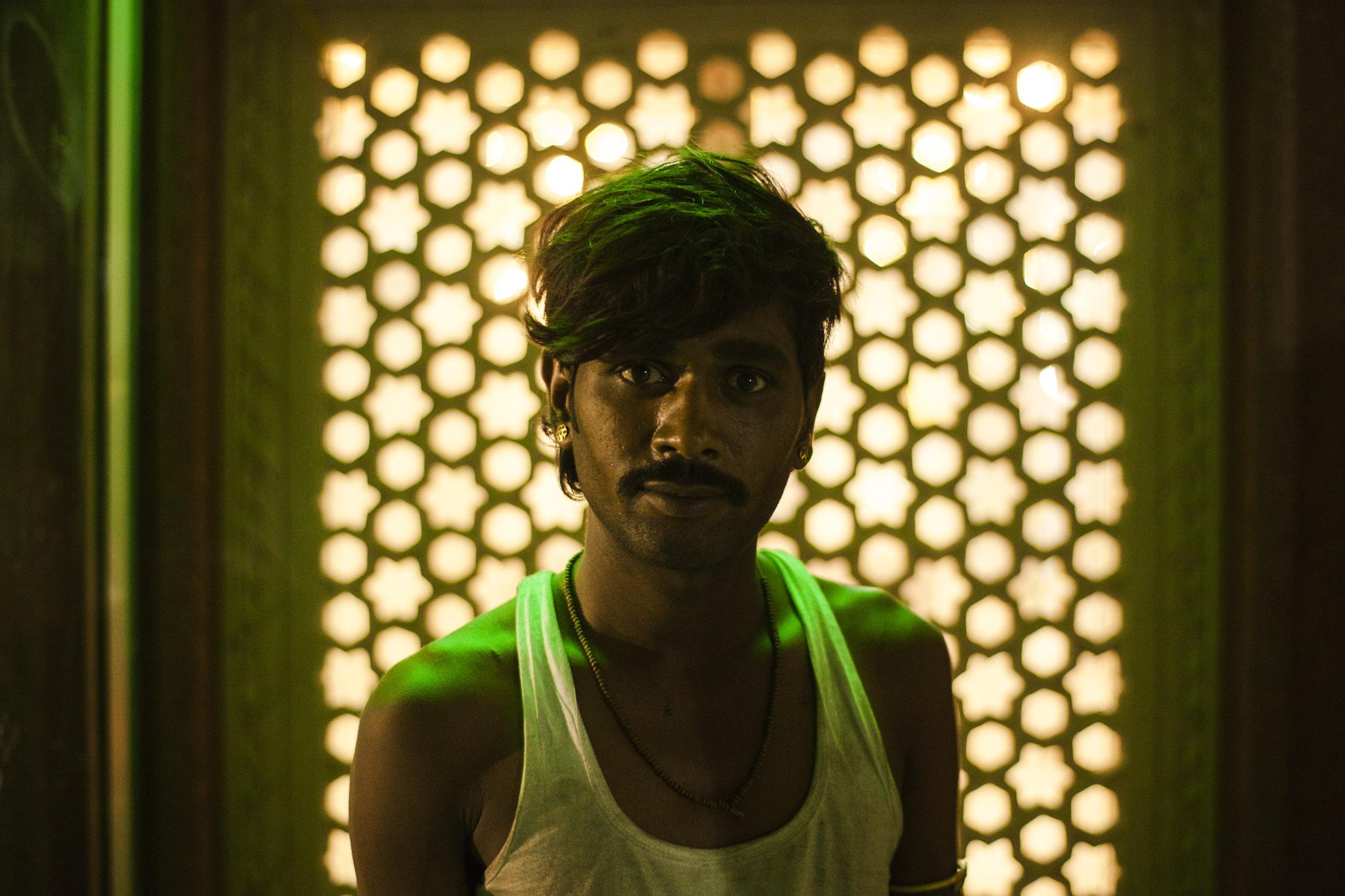 Green Trucker Temple Portrait
